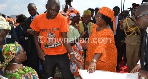 President Joyce Banda has been distributing maize to reduce food shortages