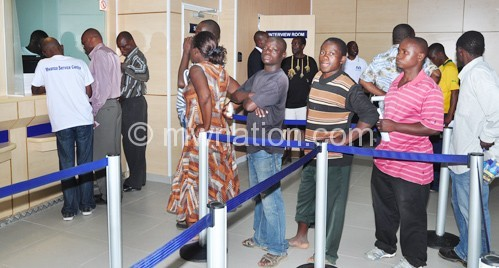 Customers transacting inside one of the banks