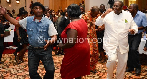 Vice President Khumbo Kachali joins the dance floor at the MAM Music awards in Lilongwe on Friday.