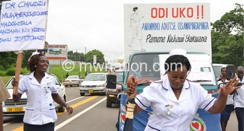 Nurses marching in Lilongwe on Monday