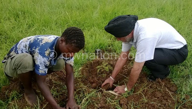 Gill (R) and a player plant trees at the stadium