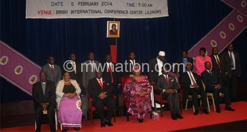 Group photograph of President Joyce Banda and the New Members of National Intergrity Committee at the Commemoration of National Anti Corruption Day in Malawi-pic by Lisa Vintulla