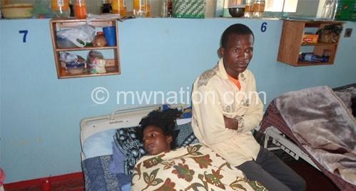 Mapundu with her husband Ligomba at QECH on Monday