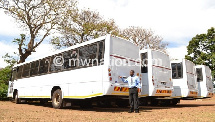 Some of the Cashgate buses at Police Headquarters in Lilongwe