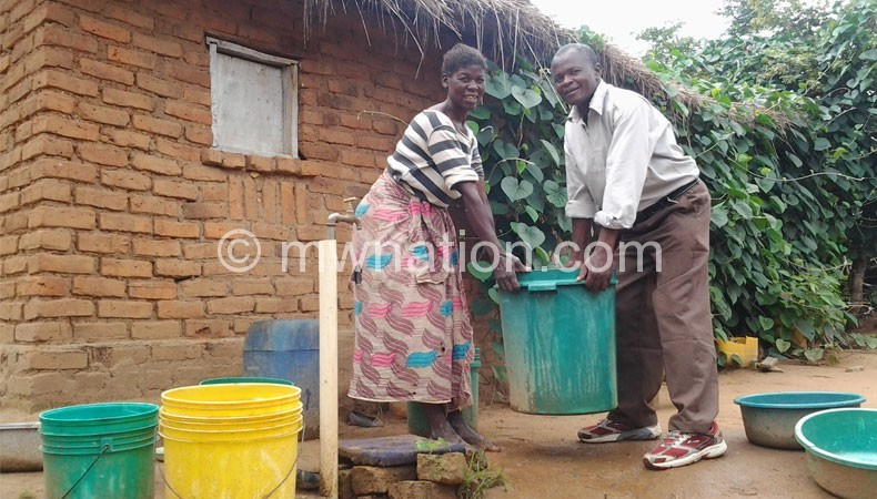 Chipekupeku and his wife Msukwa are leading by example by using piped water