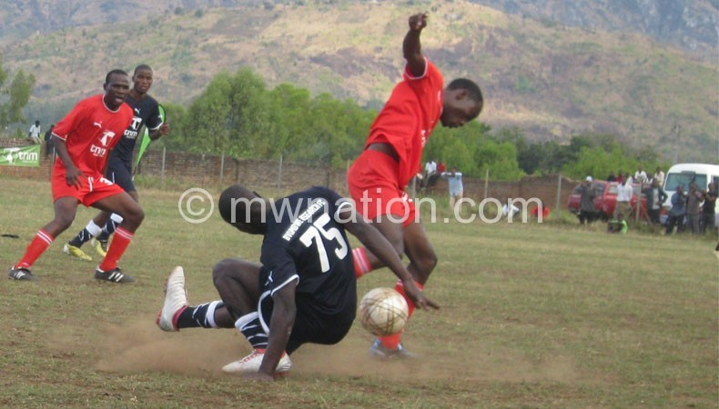 Football action at Zomba City's major community centre ground