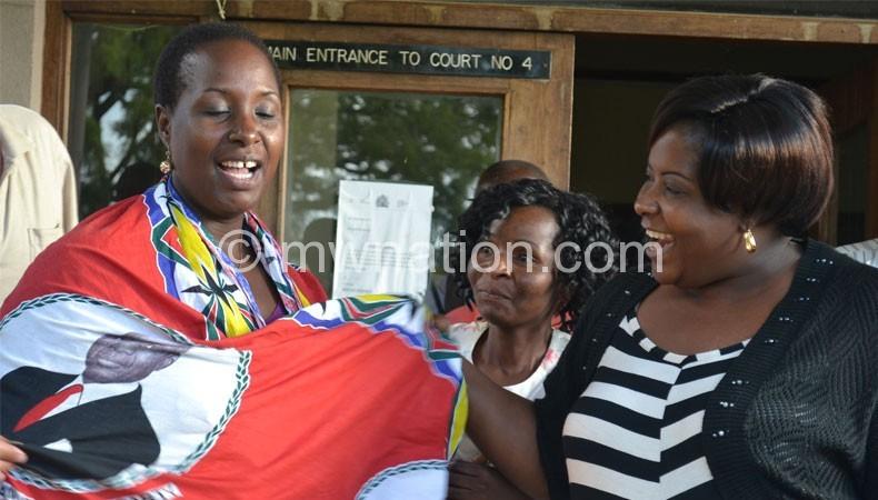 Kabwila celebrating with well-wishers