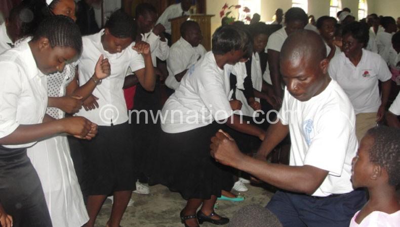 Ndirande Kachere CCAP Church faithful dancing during the event
