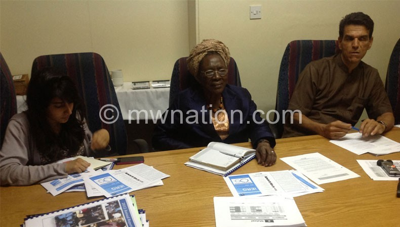 L-R Hathi, Were and Meguid at themedia briefing on Sunday