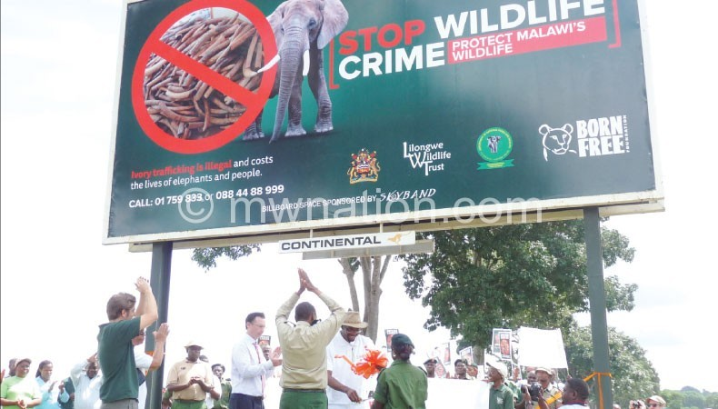 Stakeholders put  up a billboard on Wildlife Day