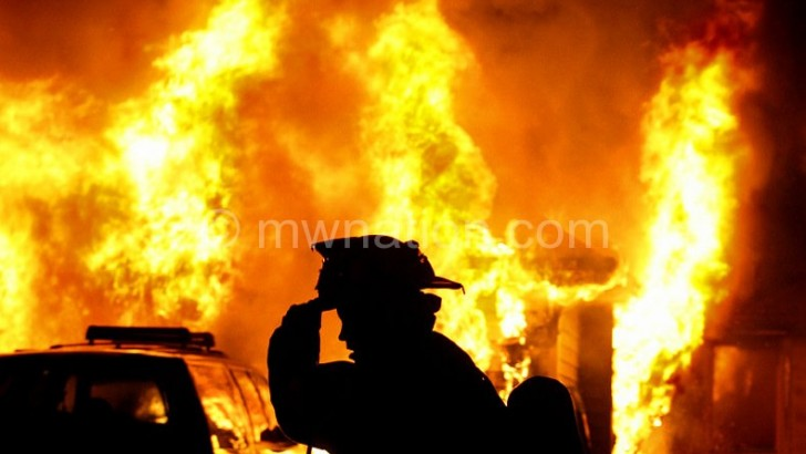 Fire guts section of Kawalazi Tea Estate factory