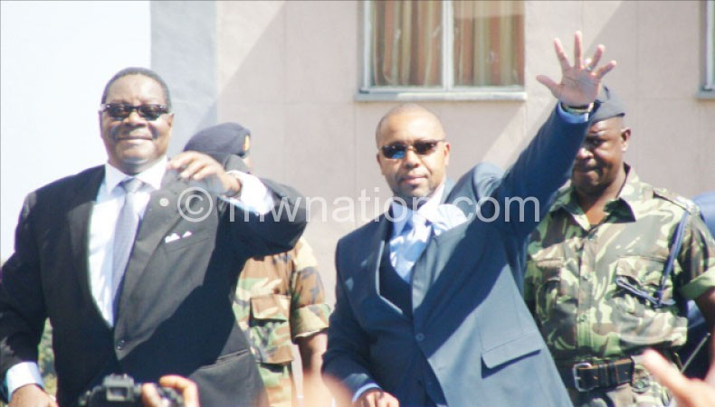 The pay can wait: Mutharika (L) and Chilima after being sworn-in as President and Vice-President
