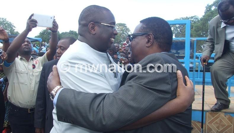 Mutharika embracing kachali in Mzimba Monday