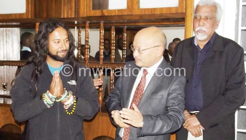 Debnath interacting with the Indian Ambassador to Malawi