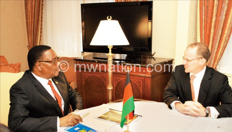 Mutharika holds talks with  CEO and chairperson for Universal Leaf George Freeman in New York on Monday