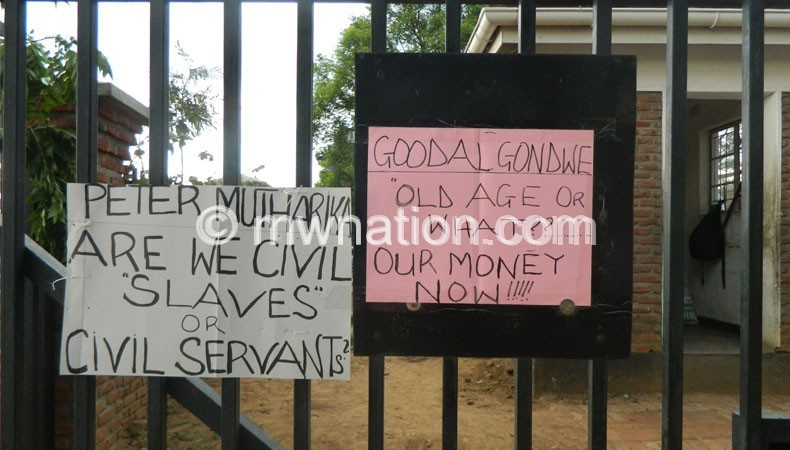 Some of the placards posted at the gates of the High Court of Malawi and Malawi Supreme Court of Appeal premises in Blantyre
