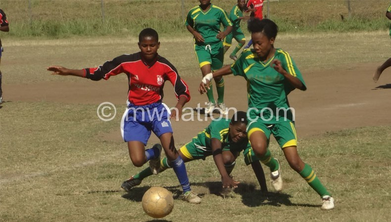 Women football action between Zomba City Queens and King's Ladies at Escom
