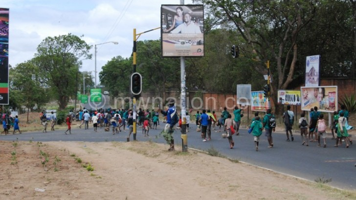 Country in crisis: Irate pupils march, block roads in Blantyre