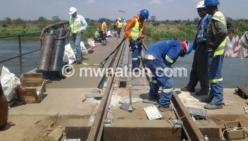 Engineers working on the railway line
