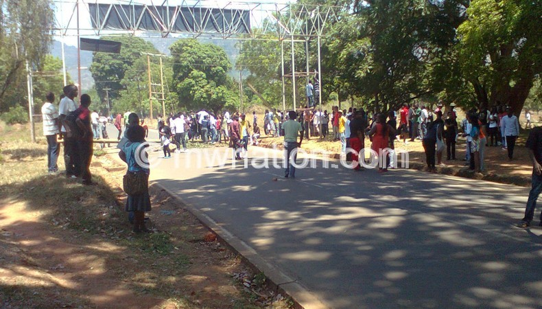 The students blocked the M1 Road when US  Second Lady visited Malawi in July