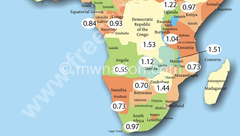 Map showing petrol prices in dollars per litre