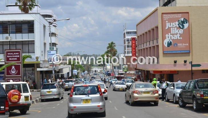 Chaotic: Traffic situation in Blantyre CBD where it is a  nightmare to find parking space