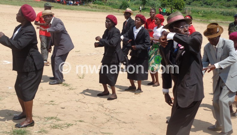 In full regalia, Park Town Band caught mid-step