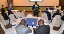 Asiedu (standing) sharing Ecobank Malawi success story to the media