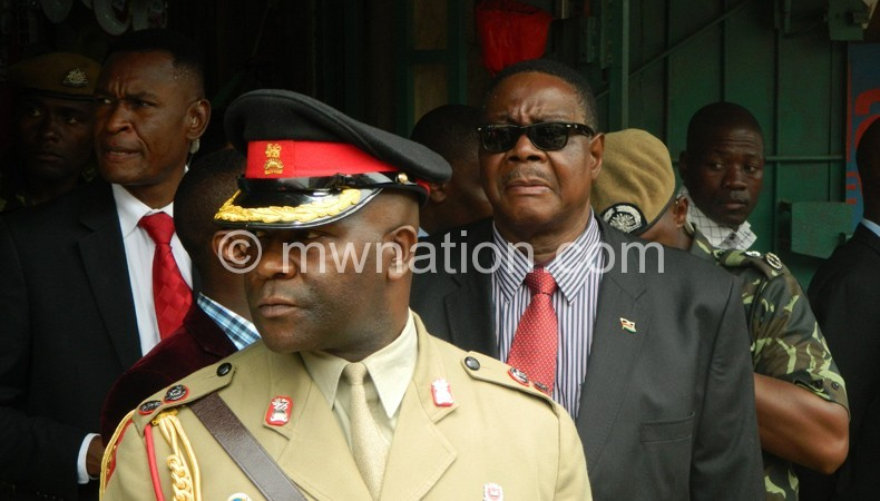 Mutharika with his removed ADC during his recent inspection tour in Limbe