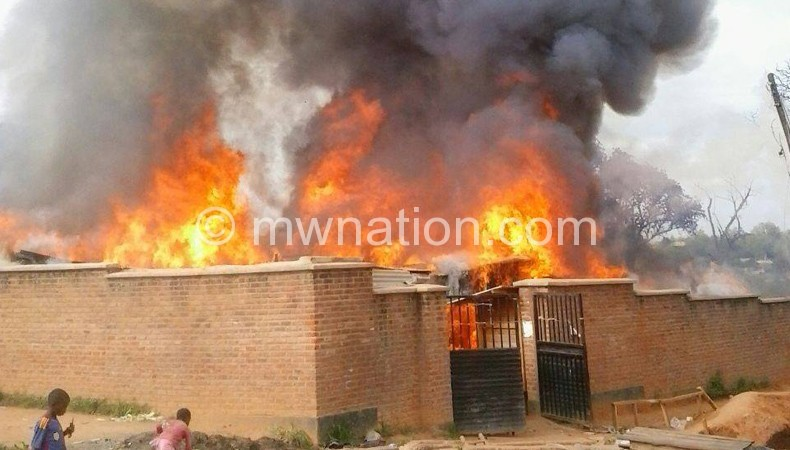 A section of Mzimba market engulfed in flames