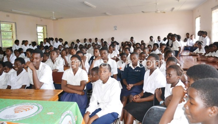 Students at Njamba Secondary School listening attentively
