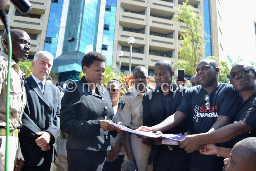 CSO members handover petition to SA High Commisioner Mbuyane Mokeane