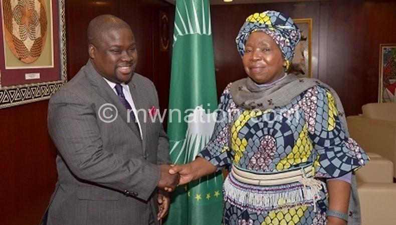 Chirwa (L) bidding farewell to Dhlamini-Zuma after their meeting