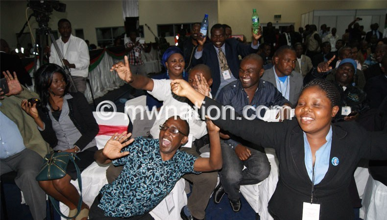 Good voting system? Democratic Progressive Party (DPP) supporters celebrating their party's victory in the May 20 2014 Tripartite Elections