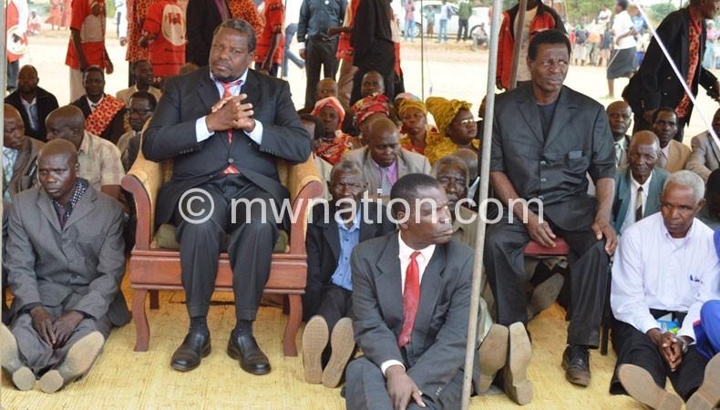 Kalonga Gawa Undi surrounded by his subjects at Senior Chief Chadza's wedding