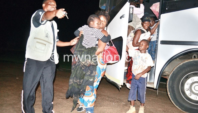 Some of the repatriated Malawians on arrival back home