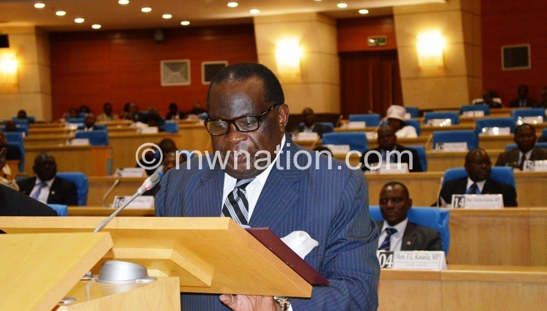 Gondwe presenting a zero-aid budget in Parliament in May