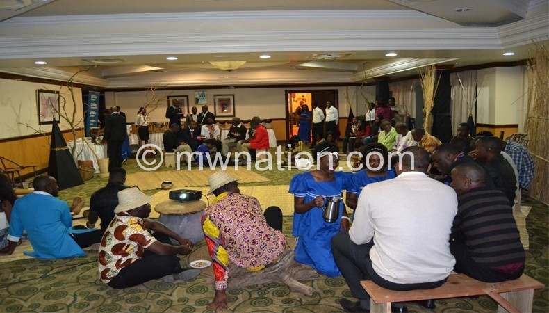 Journalists and movie makers interact in the village-themed Njamba Room