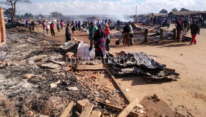 A desolate scene at the razed down market