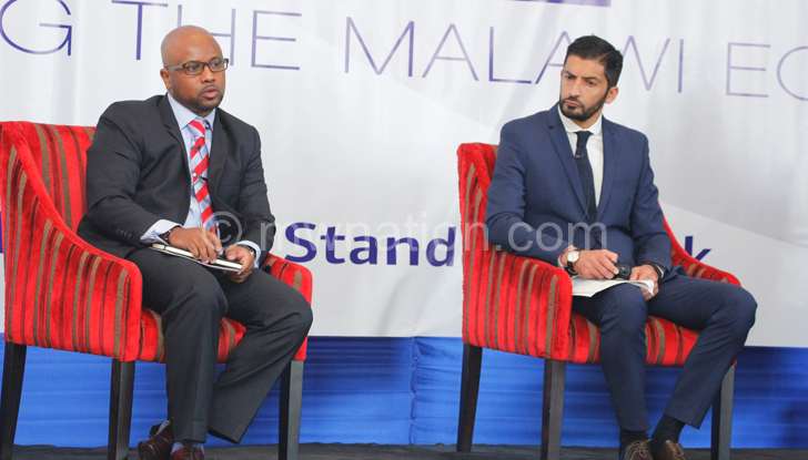 Ballim (R) with Standard Bank Malawi head of global markets Lesego Osman during the forum on Wednesday