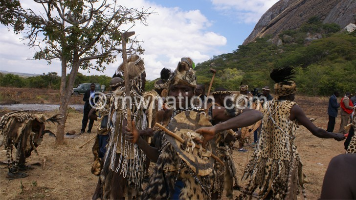 Ngonis show off their regalia at they prepare for the Umthetho festivities