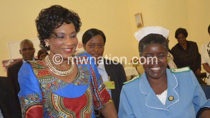 First Lady tours burnt Daughters of Wisdom Convent