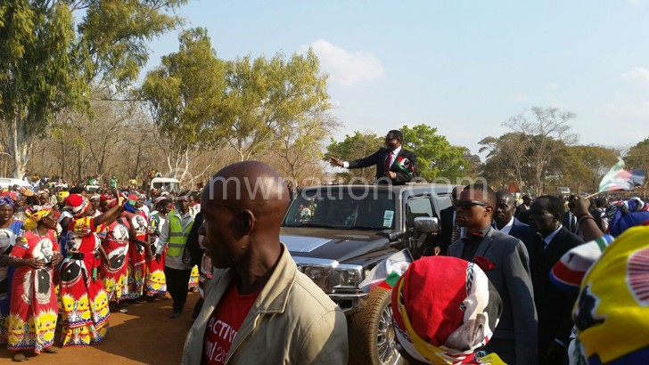 Chakwera arriving at the rally venue in Kasungu on Sunday