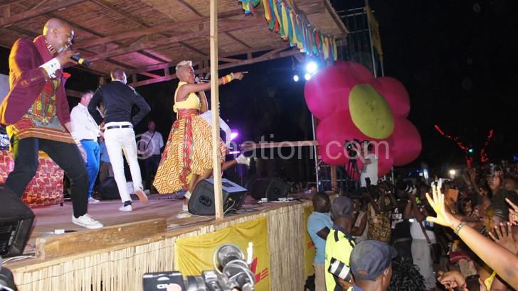 Mafikizolo captured performing at the Lake of Stars