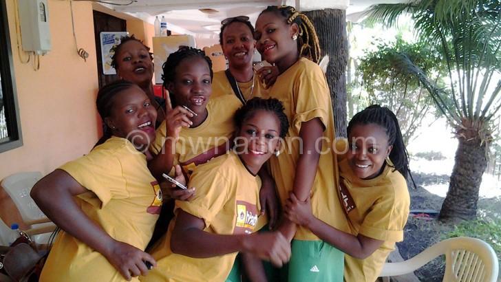 Jere (L) Kachilika (C) and Mvula (2ndR) with teammates in Tanzania