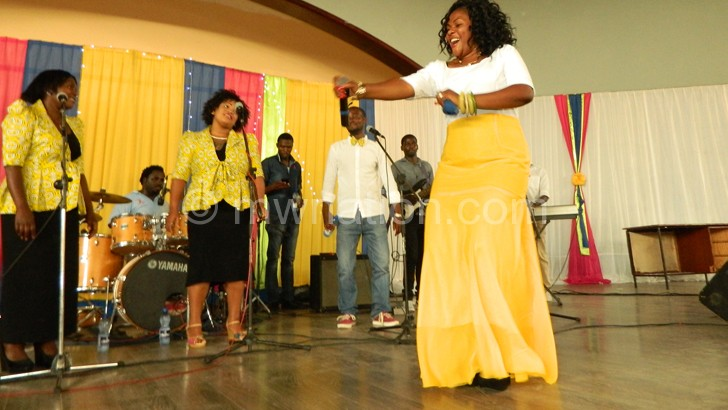 Bernadetta performing during her album launch at Robin's Park in Blantyre