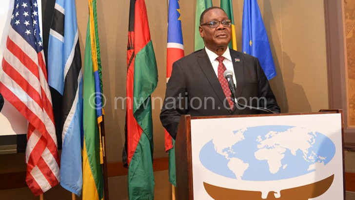 Mutharika addressing the forum  in New York