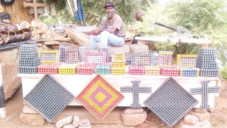 A view of crafts that Chimganda makes from bottle tops