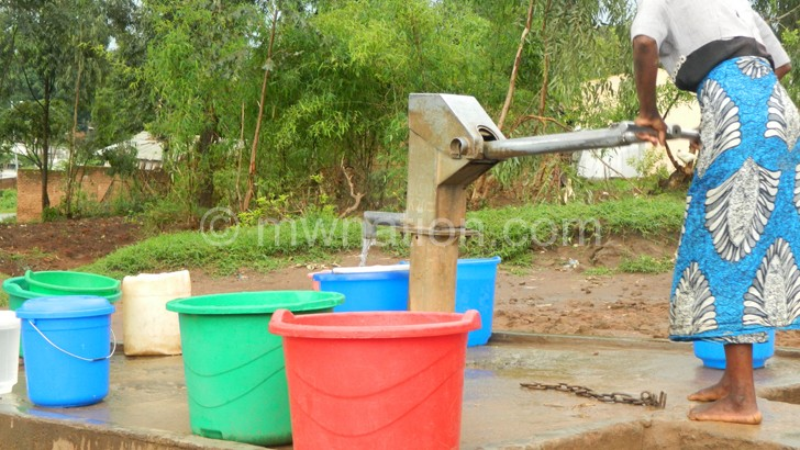 Potable water bening drawn from a borehole