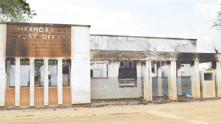 Mkanda Post Office in Mchinji was recently gutted by fire
